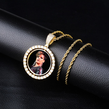 New Custom Photo Zircon Round Pendant Necklace With 4Mm Tennis Chain Gold Silver Cubic Zirconia Men Hip Hop Jewelry Gift gold pendant with topaz and cubic zirkonia