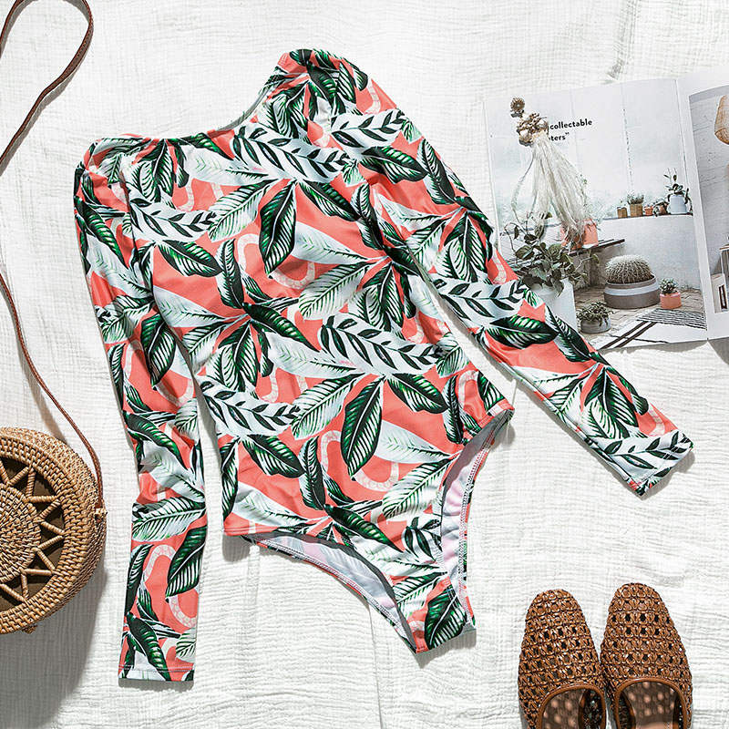 Лето, женский купальник с принтом листьев, длинный рукав, сексуальное бикини, бразильский Цельный боди, пуш-ап, купальник для женщин, монокини - Цвет: 1337-1