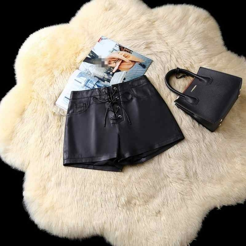 Elegant Black Genuine Leather Shorts Women Sexy Winter Low Waist Shorts Casual Streetwear Female Shorts Skirts Lace Up Big Size