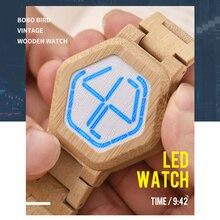 Relogio Bobo Vogel Led Hout Mannen Horloges Digitale Horloge Mannen Nachtzicht Kalender Quartz Horloge Minimale Tijd Display Dropship
