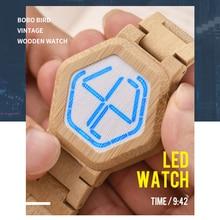 レロジオボボ鳥ledウッドメンズ腕時計デジタル腕時計男性ナイトビジョン腕時計最小限の時間表示ドロップシップ