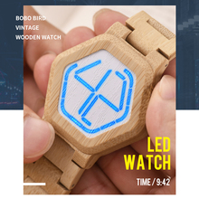 relogio BOBO BIRD LED Wood Mens Watches Digital Watch Men Night Vision Calendar Quartz Wristwatch Minimal Time Display Dropship