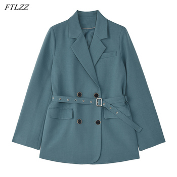FTLZZ Spring New Arrival Office Ladies Vintage Solid Blue Khaki Blazer Women Elegant Double Breasted Loose Fashion Suit Jackets 1
