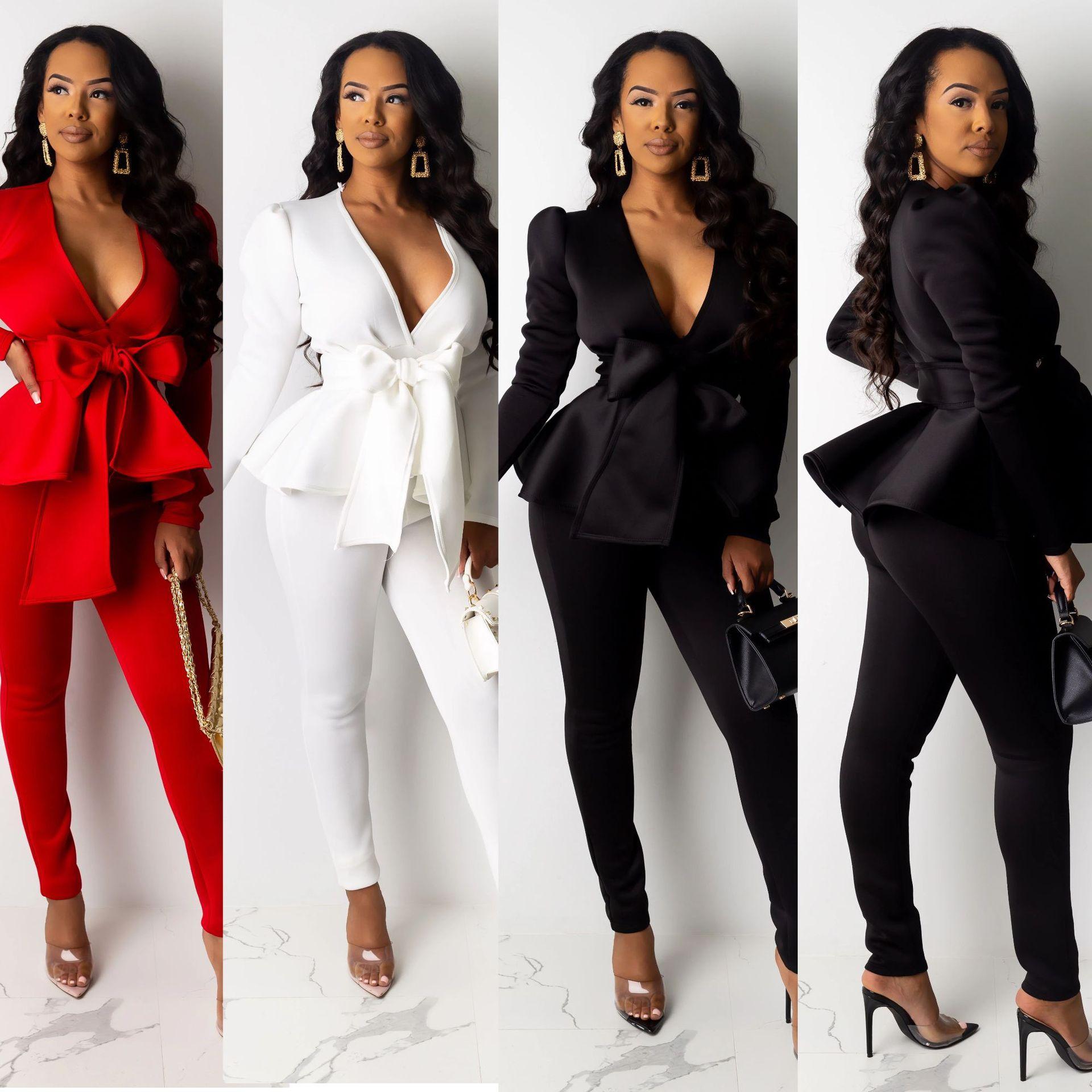 Zestaw damski zimowy damski dres Plus rozmiar Ruffles Bow Blazers spodnie garnitur 2 dwuczęściowy zestaw Office Lady Business jednolite stroje