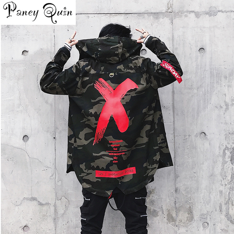 Camouflage veste hommes manteaux coupe-vent haute rue ruban Patchwork coton hommes X imprimer Bomber manteau Harajuku coupe-vent veste