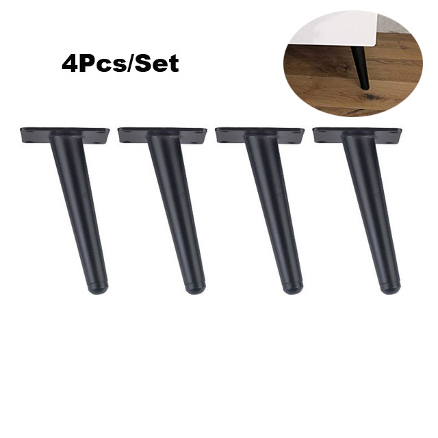 4pcs Stainless Steel Furniture Legs 15cm Tables Cabinets Feet Sofa Bed TV Cabinet Foot With Mounting Screws Black Oblique Feet