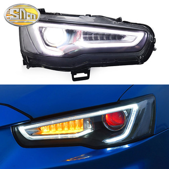 Car Styling LED Headlight For Mitsubishi Lancer 2009 - 2016 LED DRL Red Devil Eyes Dynamic Turn Signal Head Lamp Assembly
