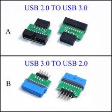 цена на YuXi Chassis Front USB2.0 9pin female to USB3.0 19 pin 20Pin male adapter USB 3.0 19pin /20Pin to USB 2.0 9PIN converter adapter