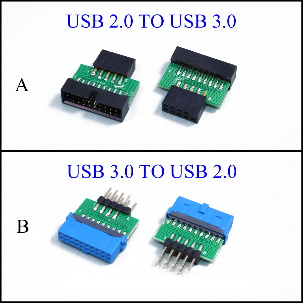 YuXi Chassis Front USB2.0 9pin female to USB3.0 <font><b>19</b></font> <font><b>pin</b></font> 20Pin male adapter <font><b>USB</b></font> 3.0 19pin /20Pin to <font><b>USB</b></font> 2.0 9PIN converter adapter image