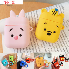 For AirPods Case Cute Cartoon Protective Cover Wireless Earphone Air pods 2 Headphone case with keyring/Ring Strap