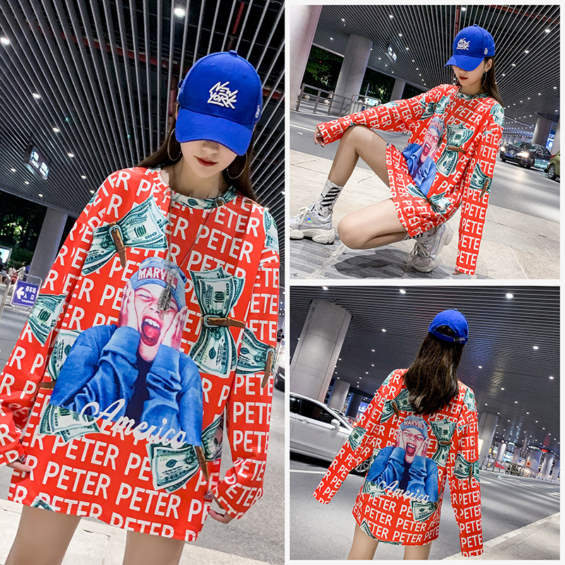 27 Colors Fashion 2019 New Autumn Winter Europe Slim Mickey Version Printed Women Clothes Round Collar Female Loose Shirt in T Shirts from Women 39 s Clothing