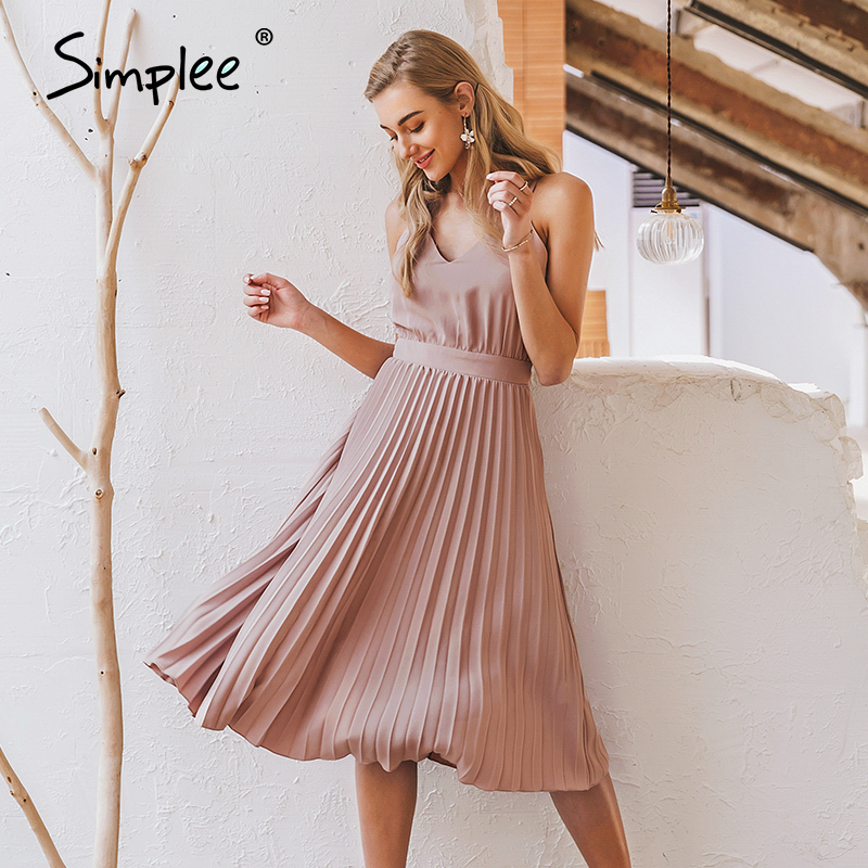 Simplee Sexy v-neck women party dress Elegant spaghetti strap female pleated office dress Solid female pink midi summer dresses 1