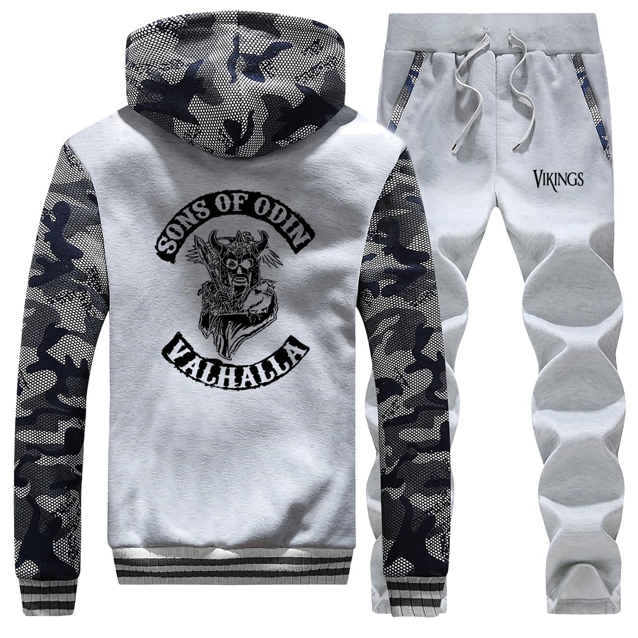 Sons Of Odin Camo Mam Set TV Show Vikings Sportsman Wear Valhalla Hoodies Winter Casual Hoodies Fleece Men's Sets Fashion Jacket