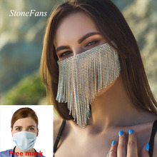 Stonefans New Trendy Crystal Face Mask Mouth Elastic Jewelry for Women Gold Long Rhinestone Tassel M