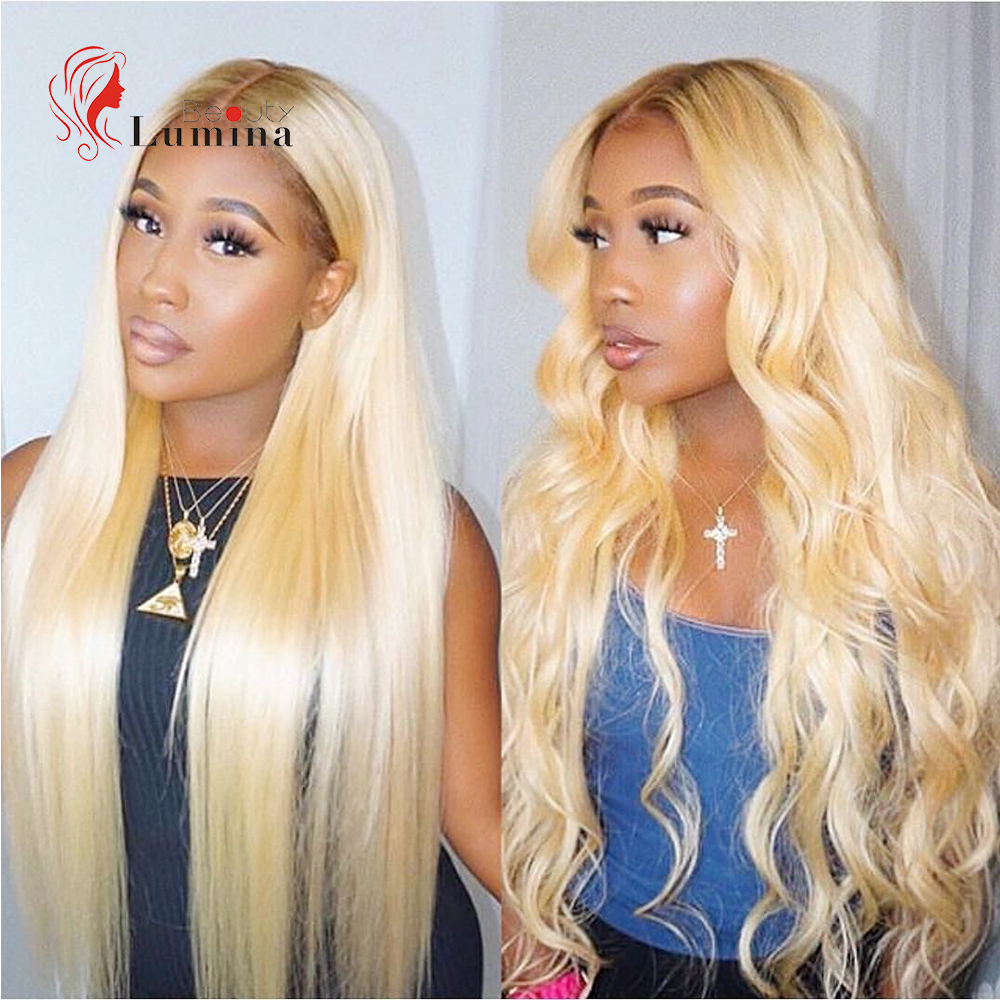 Brazilian 613 Blonde Human Hair Wig Remy Straight Hair 13x4 Lace Front Wig Pre-plucked WIth Baby Hair 180% Density Beauty Lumina