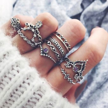 Women Bohemian Vintage Crown Wave Flower Heart Lotus Star Leaf Crystal Ring Party Jewelry Silver color Rings Set Gifts image