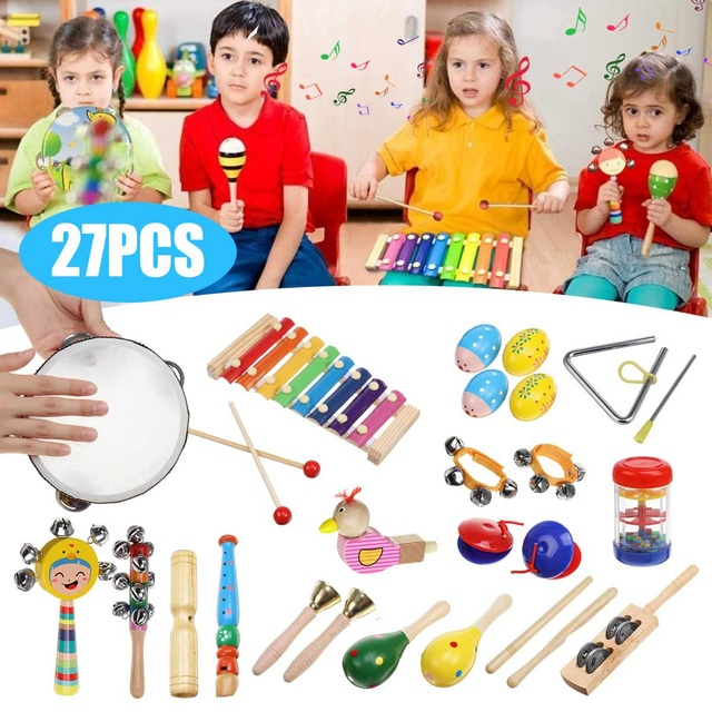 27pcs Baby Toy Music Instrument Toys Wooden Percussion Xylophone Maraca Rattles Kids Preschool Education Toys With Storage Bag