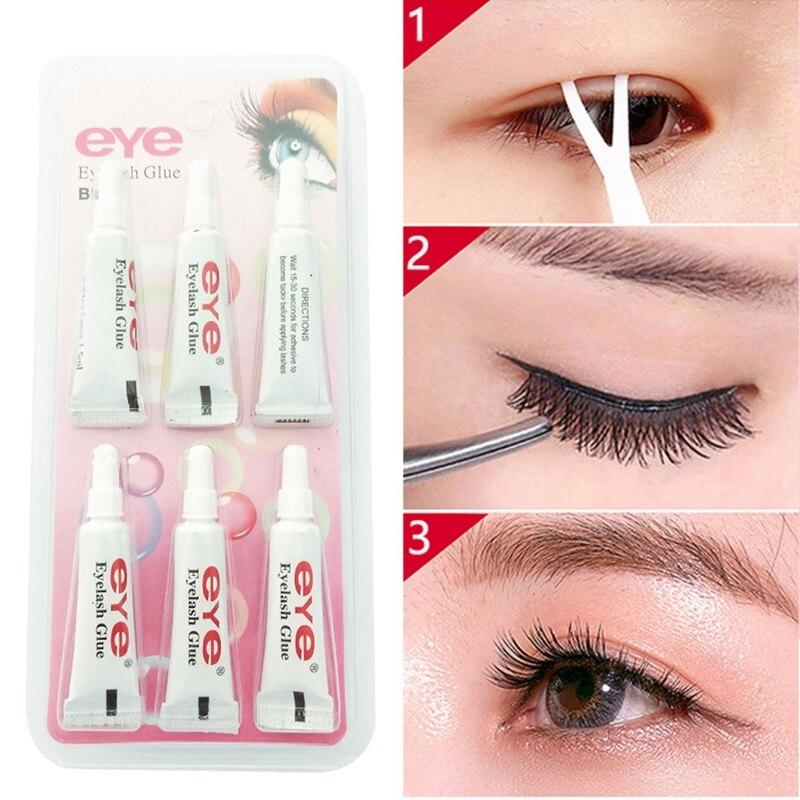 6pcs Eyelash Glue False Eyelash Waterproof False Eyelashes Makeup Adhesive Eye Lash Glue Cosmetic Tools