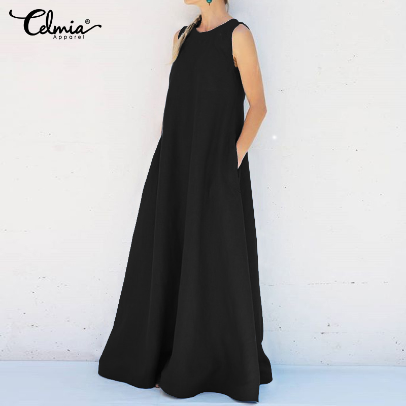 Women's Summer Sundress 2020 Celmia Sexy Sleeveless Maxi Long Dress Casual Loose Party Robe Femme Solid Oversized Shirt Robe 5XL