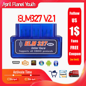 ELM327 V2.1 Bluetooth OBD OBD2 Code Reader CAN-BUS Supports Multi-Brand Cars Multi-Language ELM 327 BT V2.1 Works Android/PC C(China)