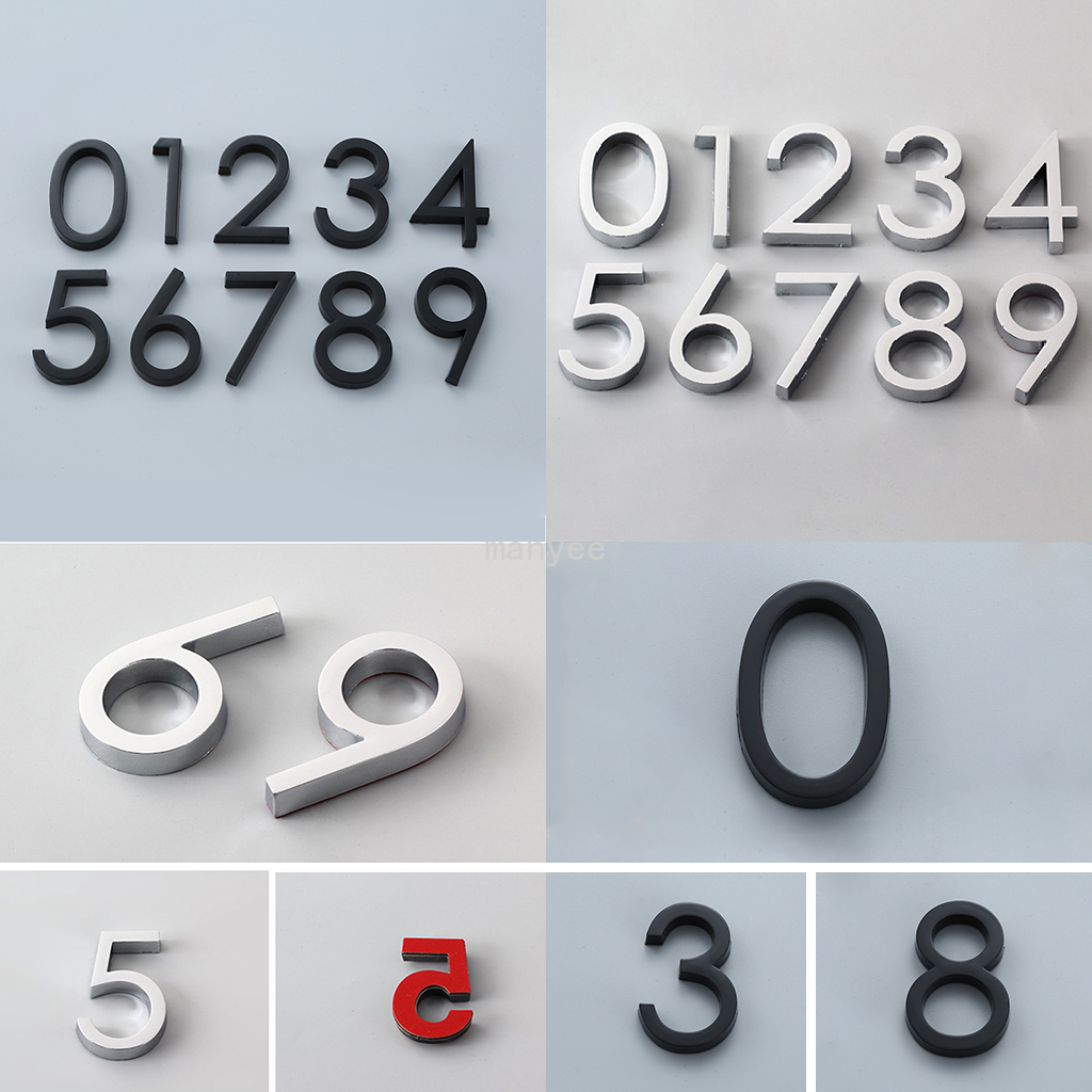 Modern House Number Sticker Sign Self Adhesive Glossy Digit for Apartment Hotel Home Door Plate Outdoor Address Mailbox Number