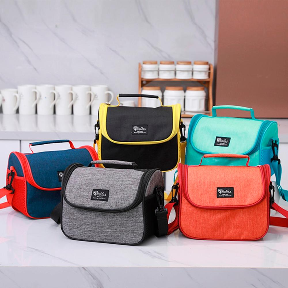 Functional Cooler Lunch Box Portable Insulated Shoulder Pouch Tote Unisex Leisure Outdoor Lunch Bag Thermal Food Picnic Women#D