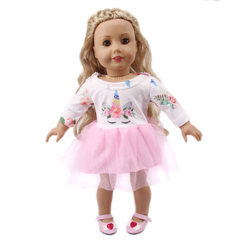 Doll Clothes Unicorn Patterns Pink Dress For 18 Inch American & 43 Cm Born Generation Girl`s Toy