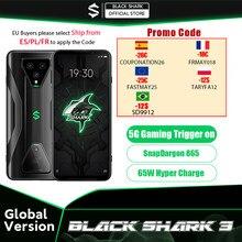 Versão global tubarão preto 3 8gb 128gb snapdragon 865 5g jogo telefone octa núcleo 64mp triplo ia câmeras 65w carregador joyui 11