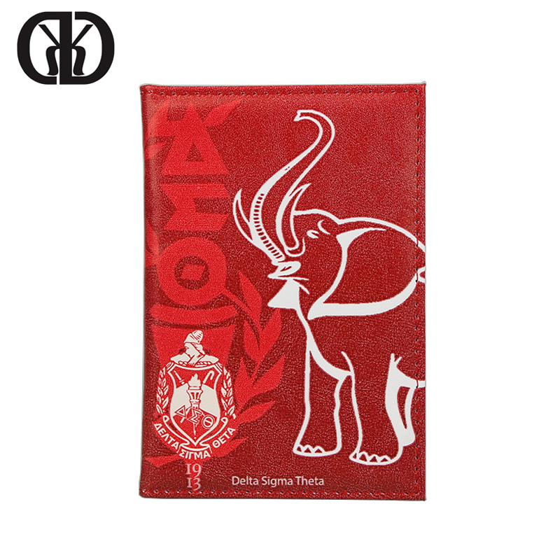 HEQUN Delta Sigma Theta Passport Holder Women Animal Elephant Soft Pu Leather Covers For Passports American Travel Case Passport