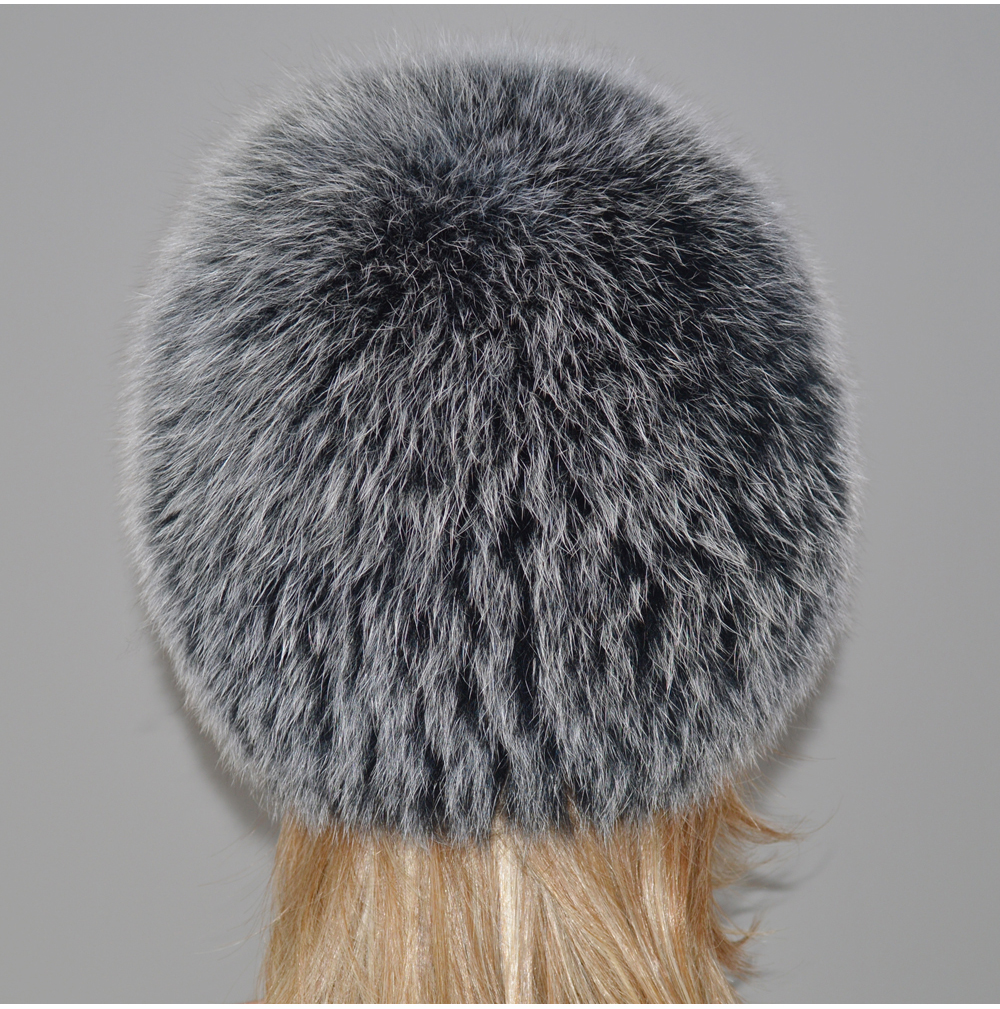 H10ce824b53c849fea32866fec744df099 - New Luxury 100% Natural Real Fox Fur Hat Women Winter Knitted Real Fox Fur Bomber Cap Girls Warm Soft Fox Fur Beanies Hats