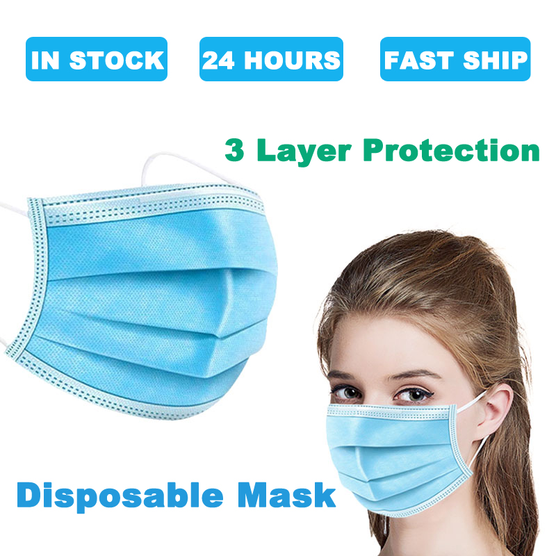 Protection Masks Disposable Face Mask 3 Layer Ply Filter Mask Mouth Safe Breathable Protective