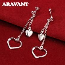 New Arrival 925 Jewelry Silver Plated Heart Long Chain Drop Earrings For Women Wedding