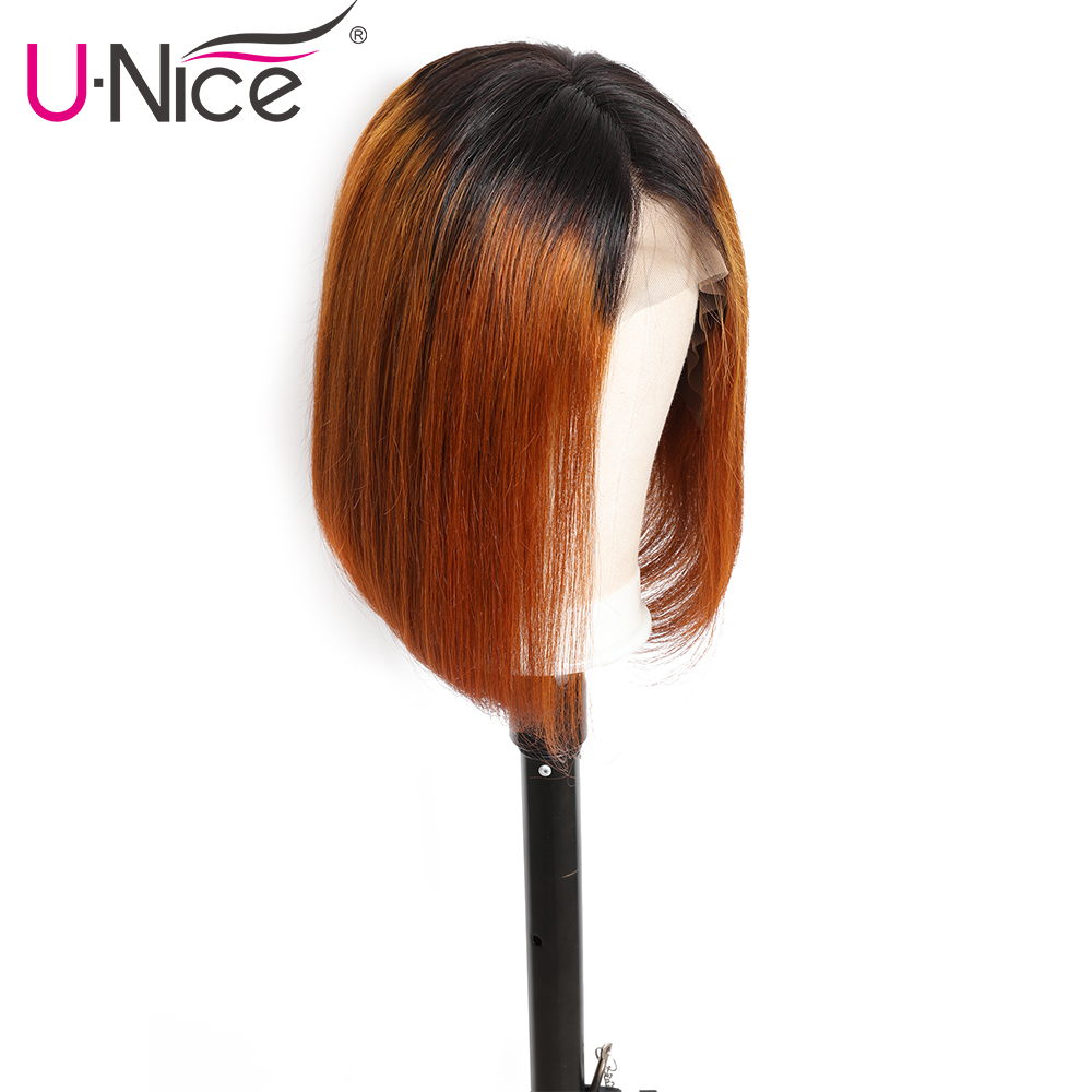 H10ceb1b4099948deadae31e604f6ebb2d Unice Hair 13*4 Straight Bob Ombre T1B30 Human Hair Wigs 8-14 Inch Pre Plucked Remy Hair Lace Front Wig