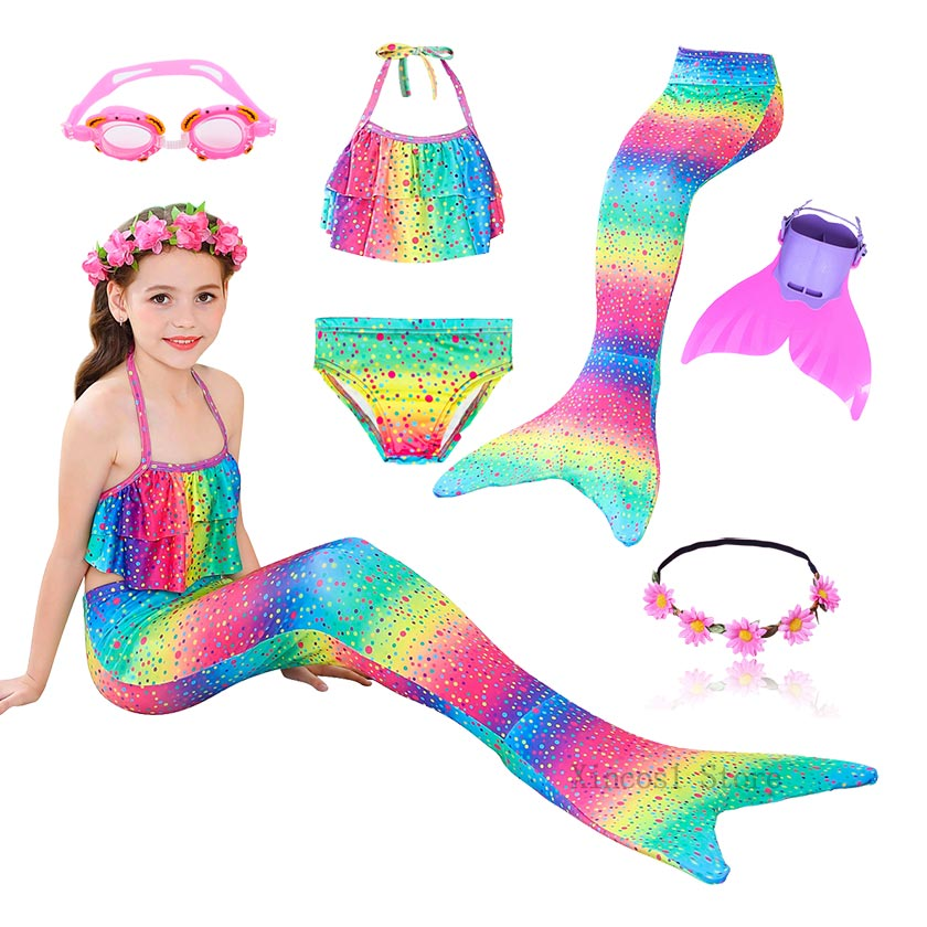 New Kids Girls Mermaid Tails Swimsuit Bikini Bathing Suit For Children With Garland Or With  Monofin Flipper Fin For Swimming