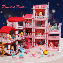 Girls Castle Big Villa DIY Dollhouses Assembly Cute Doll House For Girls With Furniture Car Figures Toys For Children Gifts
