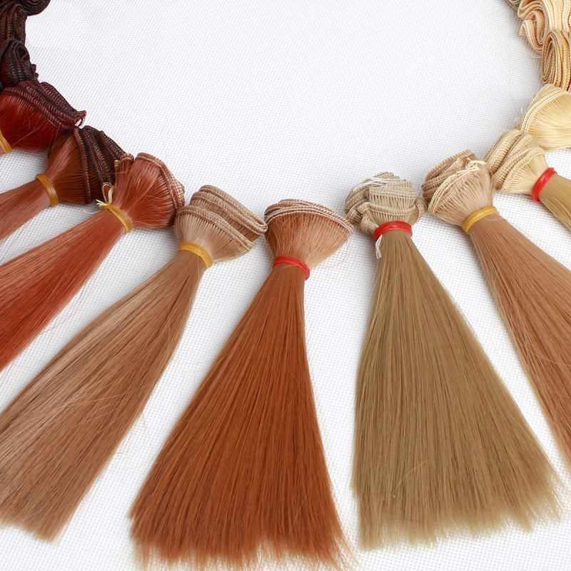 ילדים צעצועי 15*100cm הארכת צבע בובת שיער אביזרי בובת שיער עבור בובות רוסית בעבודת יד צעצועי עבור ילדי ילדי מתנה