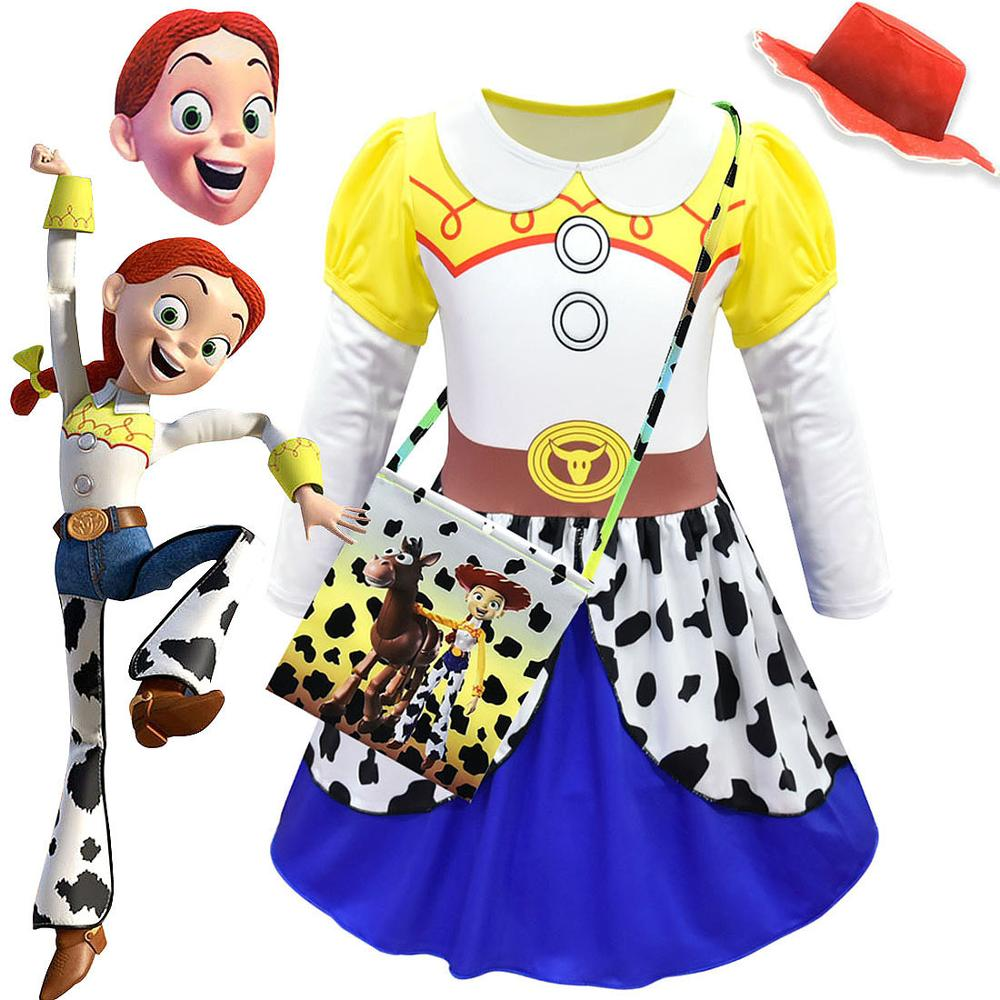 Movie Toy Story 4 Jessie Dress Cosplay Costume Toy Story Uniform Suit Cosplay Halloween Costumes Kids Girl Dance Party Drss
