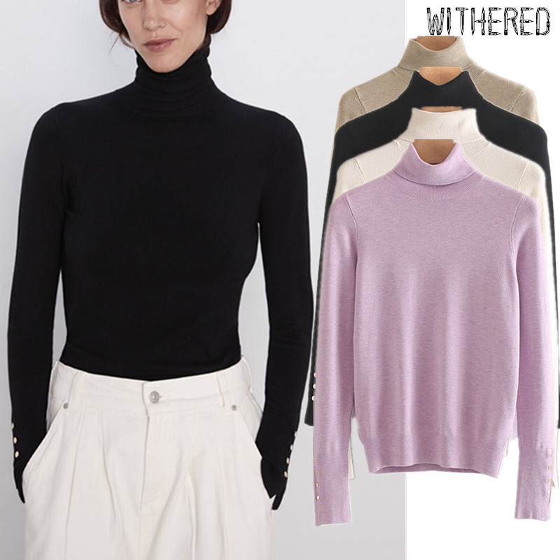 Withered Winter Sweaters Women England Elegant Multicolor Turtleneck Gold Buttons Pull Femme Knitted Sweaters Women Pullovers