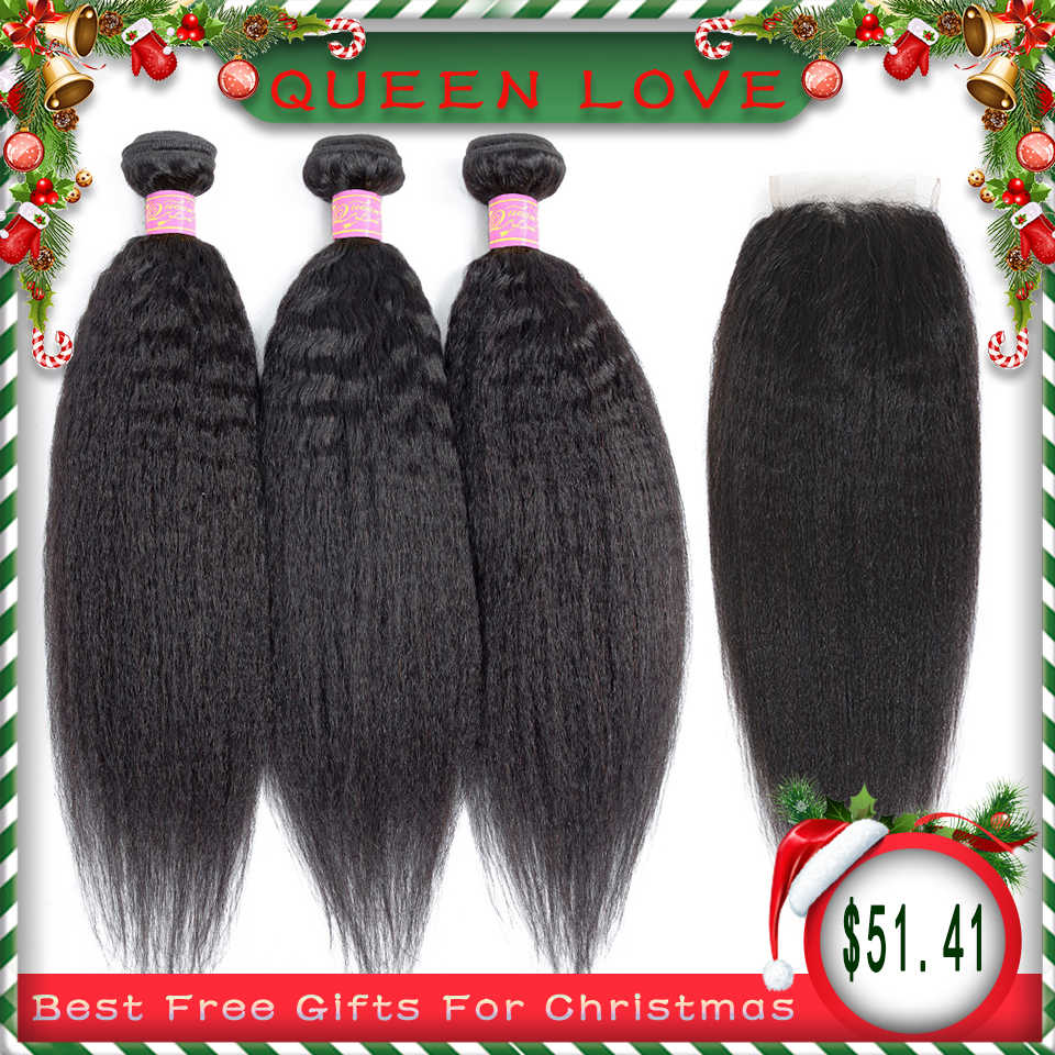 Queen Love Hair Malaysian Kinky Straight Bundles With Closure Remy Human hair weave bundles Natural Black 3 Bundles With Closure