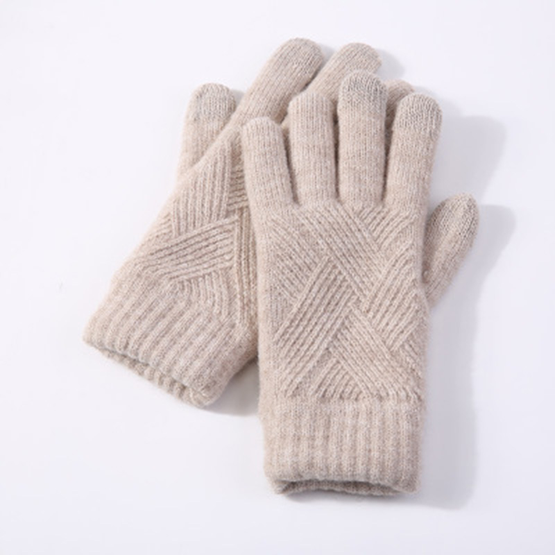 Female Winter Warm Knitted Full Finger Gloves Men Solid Woolen Touch Screen Mittens Women Thick Warm Cycling Driving Gloves