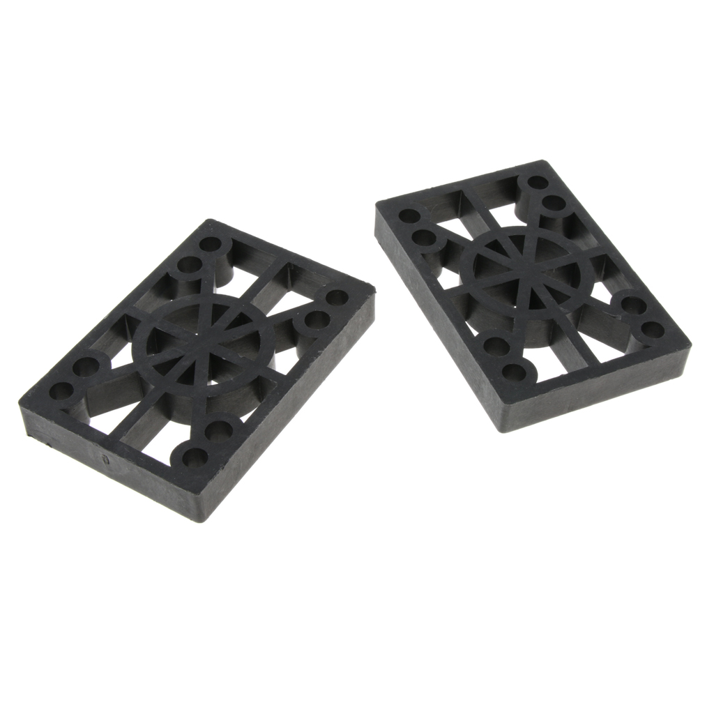 2 Pcs Skateboard Riser Pads Longboard Rise Pads, Soft Longboard Shockpads, 12mm, Black