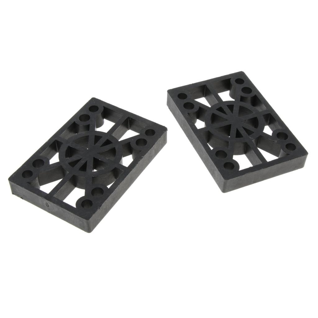 2 Pcs Skateboard Riser Pads Longboard Rise Pads, Soft Longboard Shockpads, 12mm, Black