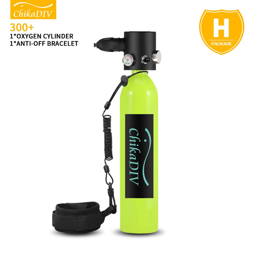 ChikaDIV Diving equipment oxygen cylinder set Underwater respirator 0.5 liter capacity Reusable Dive time is about 6-7 minutes