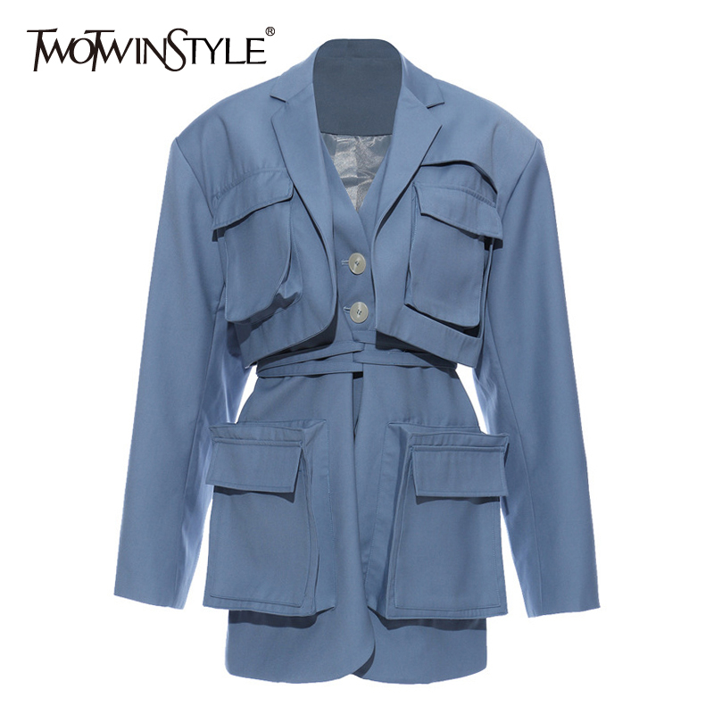 TWOTWINSTYLE Casual Women Blazer Notched Collar Long Sleeve High Waist Lace Up Patchwork Pockets Suit Female Fashion Clothes New