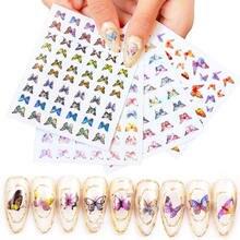3d наклейки для дизайна ногтей в виде бабочки набор клейких