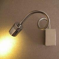Topoch Minimalist Gooseneck Reading Lamp for Bed Polished Chrome Finish 3W LED CREE 200LM Hose Adapative AC100-240V DC12V 24V