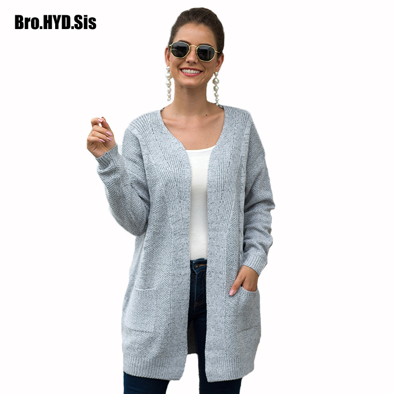 Slouchy Long Women Cardigan Ribbed Sweaters Fall Winter Fashion Solid With Pocket Knitted Open Front Female Tops Burgundy Gray