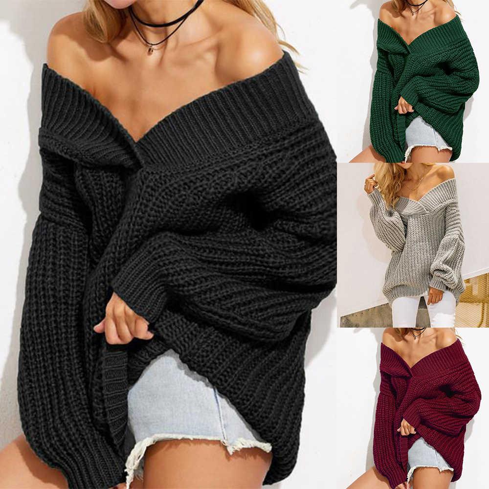 נשים כבוי כתף סוודרים סתיו רחב מימדים בכבלים לסרוג סוודר Jumper אחד צווארון חולצה סוודר