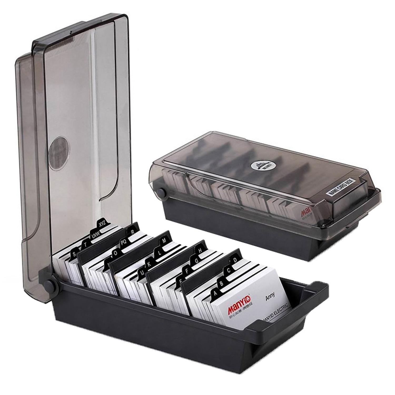 venda quente abs preto grande capacidade de desktop cartao de visita arquivo caso do cartao de