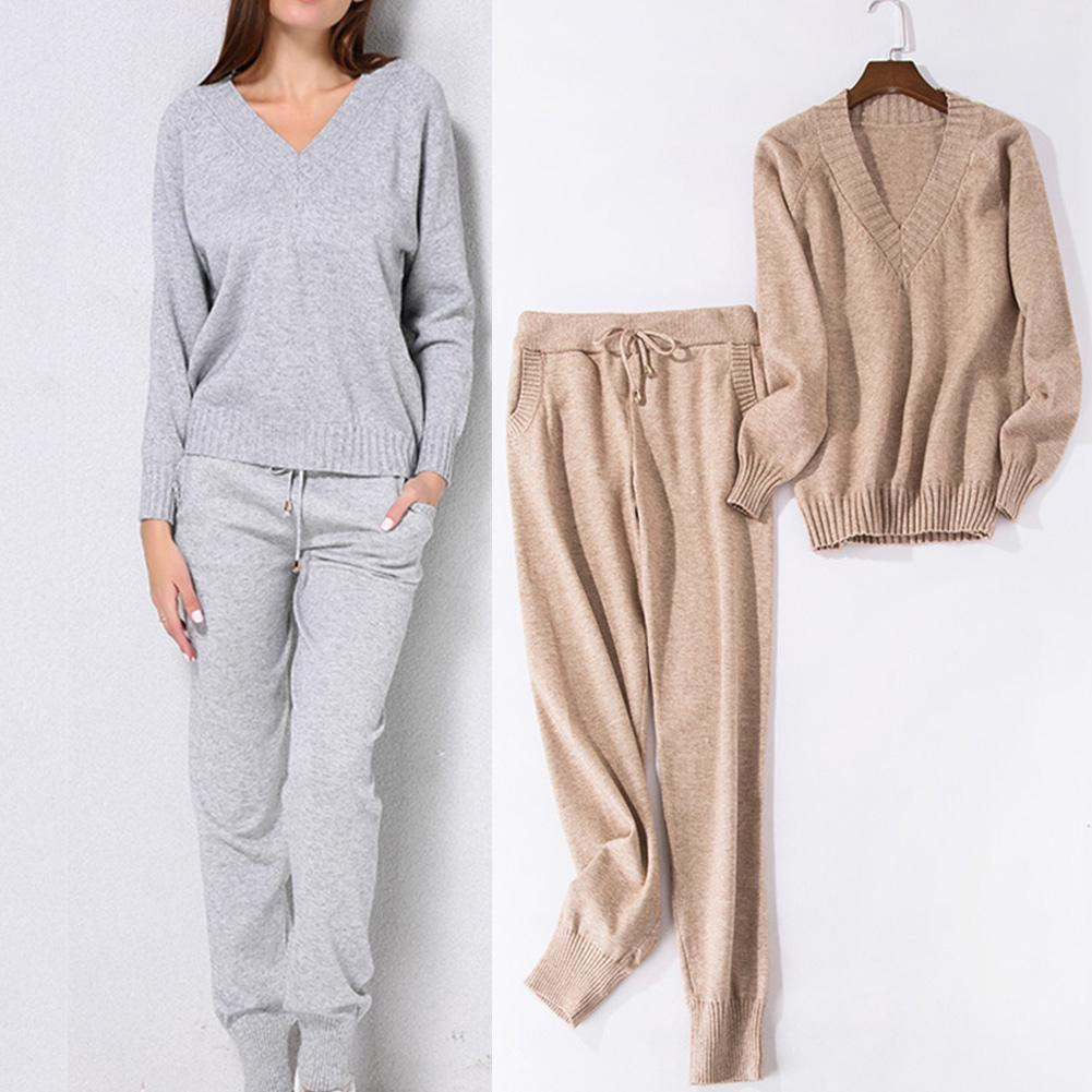 Women Sweater Suit SetsCasual Knitted Sweaters Pants 2PCS Track Suits Woman Casual Knitted Trousers+Jumper Clothing Set